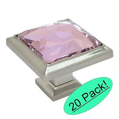 *20 Pack* Cosmas Satin Nickel & Pink Glass Square Cabinet Knobs #5883SN-P