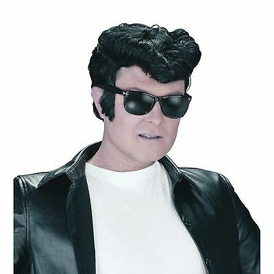 50's STYLE TEDDY BOY BLACK DANNY GREASER WIG Adults Mens Fancy Dress Costume