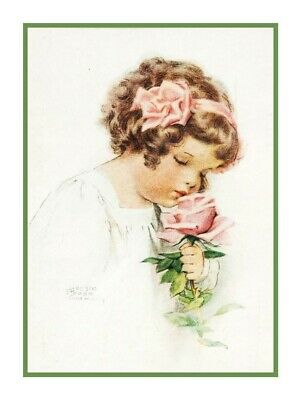 Bessie Pease Gutmann Girl Pink Sleeper Doll Blocks Counted Cross Stitch Pattern