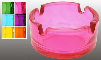 Neon Colours Glass Round Ash Tray Ashtray for Bar Pub Restaurant