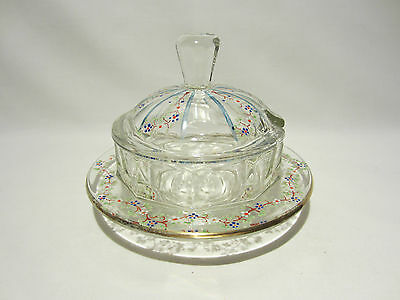 Ancien Confiturier De Table Pot A Confiture En Verre Emaille Decor Fleurs