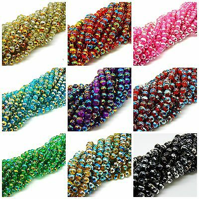 Glass Crackle Drawbench Beads Round Oily Drizzle Sizes - 4mm - 6mm & 8mm ML