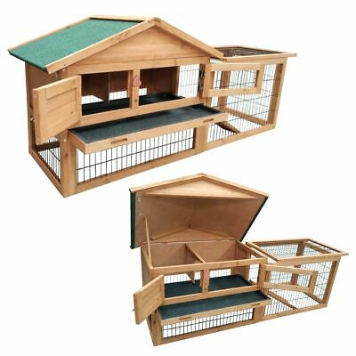 2 Tier Level Wooden Rabbit Hutch With Run Pet House  Home Ferret And Guinea Pig