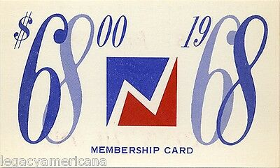1968 Richard Nixon $68 FOR '68 CLUB Membership Card (3792)