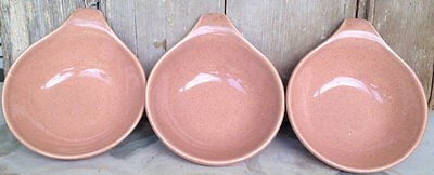 STEUBENVILLE CORAL LUGGED SOUP BOWLS (3) Russel Wright  American Modern Art Deco