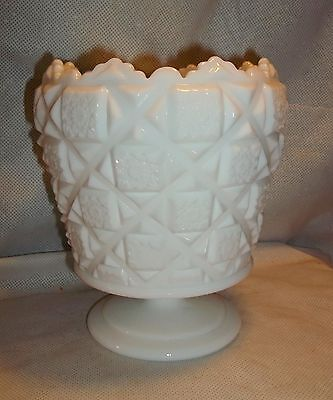 Westmoreland OLD QUILT milk glass Footed Urn, cupped or curved in top edge.