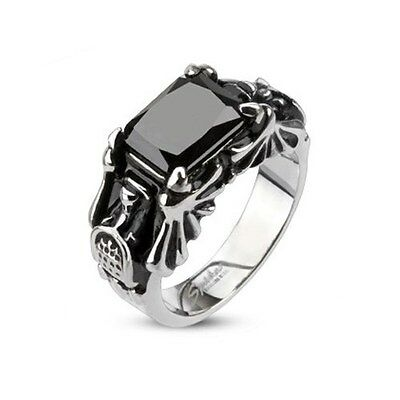 316L Stainless Steel with Faceted Rectangle Onyx Cyber Bat Wings Cast Ring Band