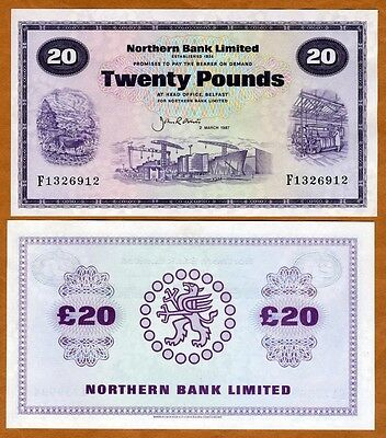 Ireland, Northern Bank, 20 pounds, 1987, P-190 (190c), UNC > Scarce