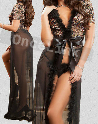 Sexy  Faux Fur Lingerie Long Evening Gown Chemise Babydoll Dress Robe + String