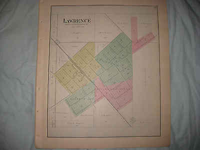 HUGE ANTIQUE 1892 LAWRENCE McHENRY COUNTY ILLINOIS HANDCOLORED MAP SUPERB NR