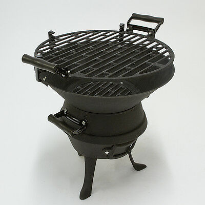 Black Portable Cast Iron Charcoal BBQ Grill Fire Pit Garden Camping Barbecue NEW