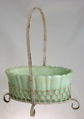 Akro Agate - No 654 Marbleized Green Oval Planter in Wire Basket