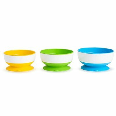 Munchkin 3 Count Stay Put Suction Bowl, Feeding Baby Toddler, New, Free Shipping