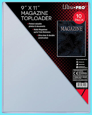 "10 Ultra Pro 9""x11"" Thick Magazine Holder TOPLOADERS NEW Pack Protector Document"
