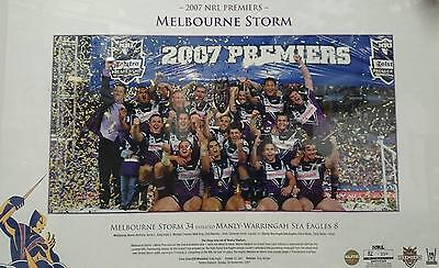 Official Rugby League Melbourne Storm 2007 Premiership Photo Framed