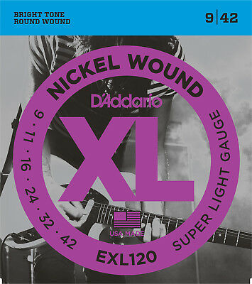 D'Addario EXL120 Electric Guitar Strings Super Light 9-42   - New