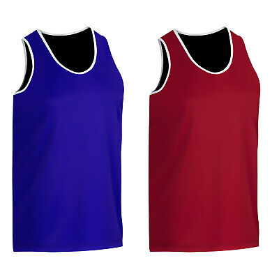 Mens Boxing Vest Sleeveless Top Brand New Quality BLUE,RED