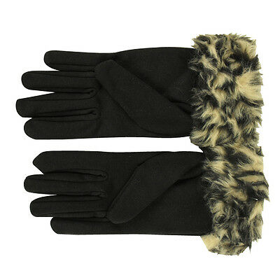Ladies Animal Print Faux Fur Cuffs Gloves Smooth Soft Fleece Lined Womens Glove
