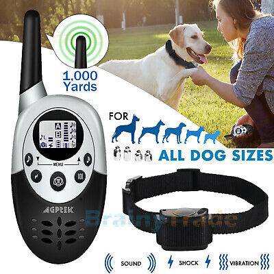 1000 Yards Dog Shock Training Collar Remote Waterproof for Large Med Small Dogs
