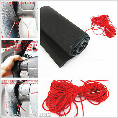 DIY Genuine Leather Steering Wheel Cover breathable Red needle thread For Nissan