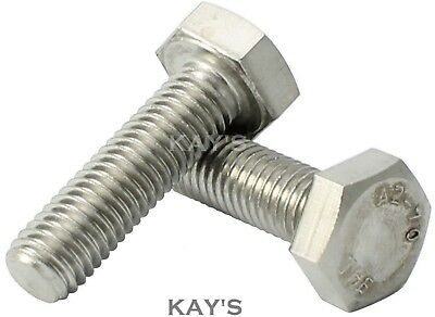M12/12mmØ A2 STAINLESS STEEL HEXAGON HEAD SET SCREWS FULLY THREADED METRIC BOLTS