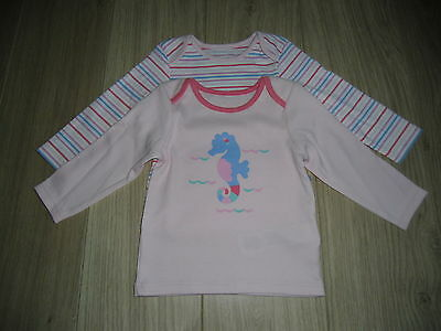 **BNWT** SET of 2 MARKS & SPENCER LONG SLEEVE TOPS ~ 100% COTTON ~ 3-6 MONTHS