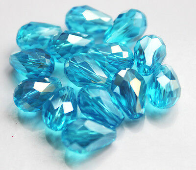 20pcs 8x12mm Faceted cut glass crystal Loose Spacer Teardrop beads sea blue