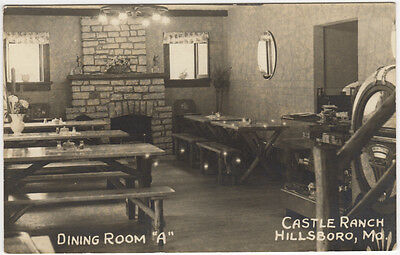 Real Photo Postcard Dining Room A at Castle Ranch in Hillsboro, Missouri