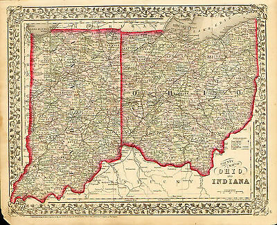 1872 Hand Colored Mitchell County Map of OHIO and INDIANA