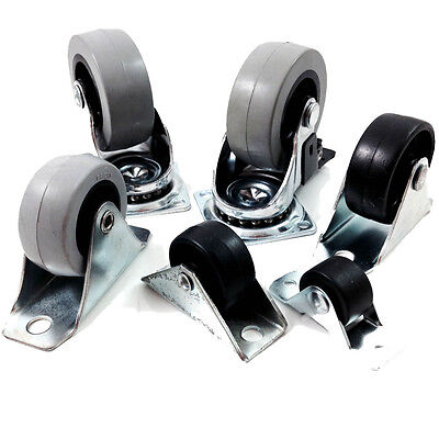 FIXED WHEEL / SWIVEL / BLACK / NYLON CASTORS SOFT TREAD 20mm 28mm 40mm 50mm