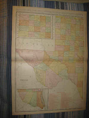 Huge Gorgeous Antique 1911 Western Texas Named Railroad Map Very Detailed Nr