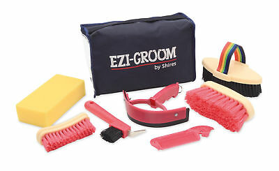 SHIRES EZI-GROOM CHILDS GROOMING KIT 1508 7 piece in a handy case brushes horse