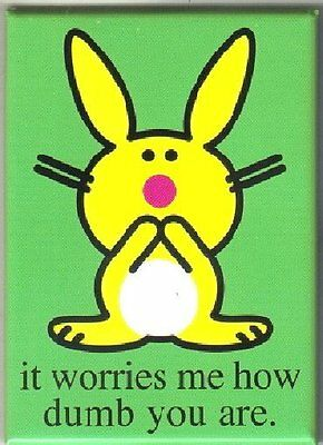 Happy Bunny Figure it worries me how dumb you are Refrigerator Magnet NEW UNUSED