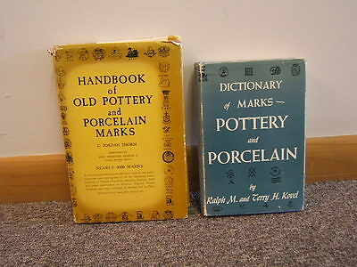 Lot of 2 Books Pottery and Porcelain Marks Dictionary Thorn/Kovel 1947 1969 BR