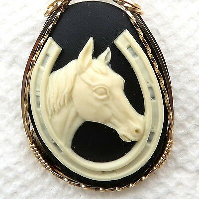 Horse Horseshoe Cameo Pendant 14K Rolled Gold Animal Jewelry Black Resin