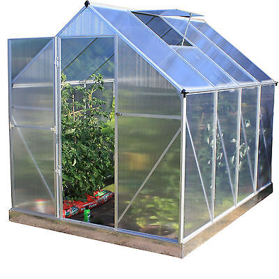 Polycarbonate Greenhouse with Foundation and Hinged Door Aluminium Woodside