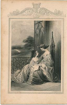 Two women and letter of regret c.1860 fine antique engraved view print