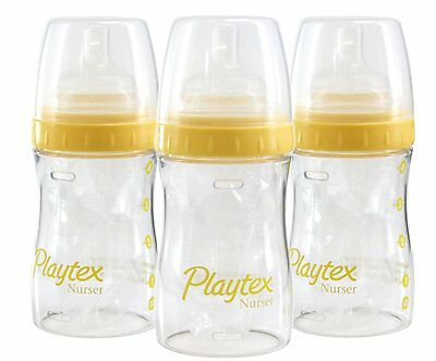 Playtex 4 Ounce Drop-In Nurser 3-Pack, Daffodil, Breastfeeding Bottle, New