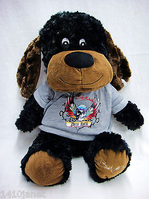 Bret Michaels Pets Rock Black Stuffed Animal Dog Chance with Squeaker