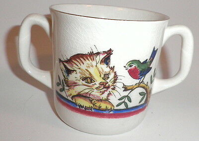 Vintage Stavanger 2 Handled Child's Cup Cat Dog Pictures Norway 1949 - 1979 Good