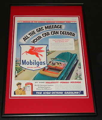 1953 Mobil Gas Mobilgas Framed ORIGINAL 12x18 Vintage Advertisement Display