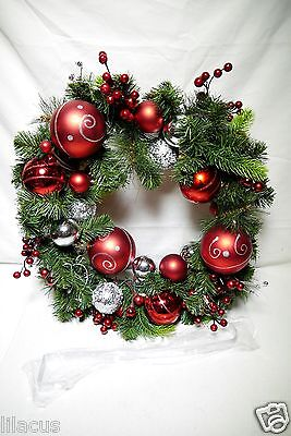 """Winter Lane Battery-Operated 24"""" LED Wreath w/ Ornaments -Red/Silver"""