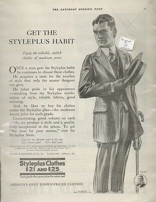 Styleplus Clothes 1918 Vintage Men's Fashion Ad, Pinstriped Suit