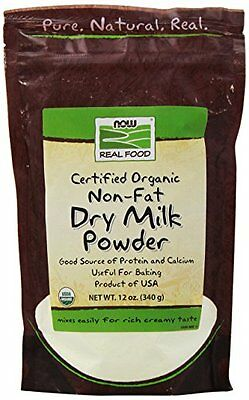 Organic Now Foods Non Fat Dry Milk Powder 12 Ounce Food Bar Kitchen Grocery New