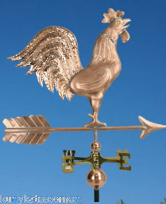 "Extra Large Copper "" Rooster"" Weathervane  Made In Usa #365"