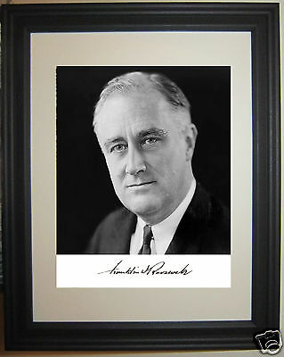 President 1933-1945 Franklin Delano Rosevelt FDR Autograph Framed Photo