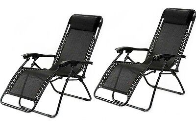1 Pair Black Zero Gravity Lounge Chairs Recliner Outdoor Beach Patio Pool new