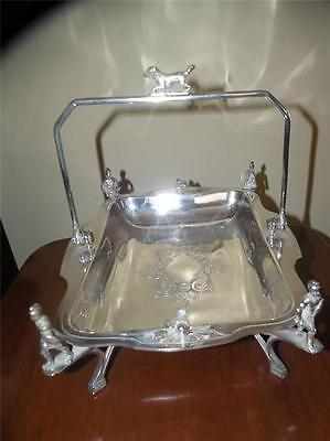 "Antique Figural Silver Plate Basket W/ Dog Finial Soldiers & Birds 11"" X 8 .75 """