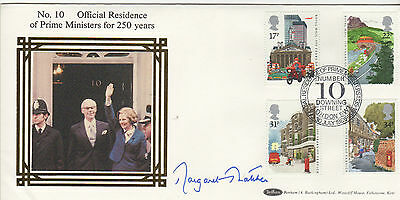 MARGARET THATCHER signed Benhams cover FDC - 10 Downing Street (250 years anni)