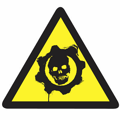 GEARS of WAR Game Warning Sticker - Video Arcade Gaming 10cm x 9cm Decal
